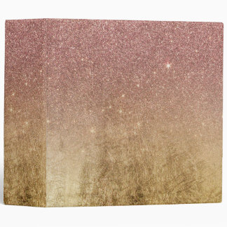 Pink Rose Gold Glitter and Gold Foil Mesh Vinyl Binder