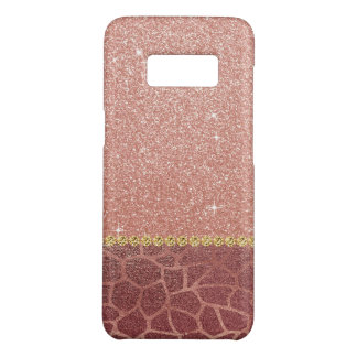 Pink Rose Gold Glitter and Sparkle Animal Print Case-Mate Samsung Galaxy S8 Case