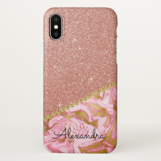 Pink Rose Gold Glitter and Sparkle Marble iPhone X Case