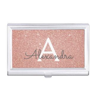 Pink Rose Gold Glitter and Sparkle Monogram Business Card Holder