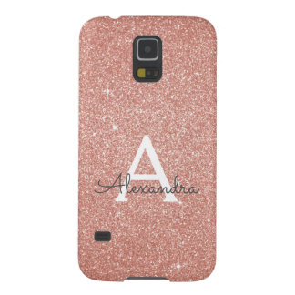 Pink Rose Gold Glitter and Sparkle Monogram Case For Galaxy S5