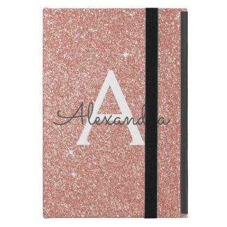 Pink Rose Gold Glitter and Sparkle Monogram Case For iPad Mini