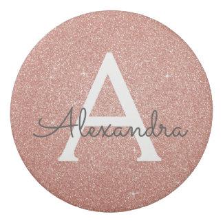 Pink Rose Gold Glitter and Sparkle Monogram Eraser