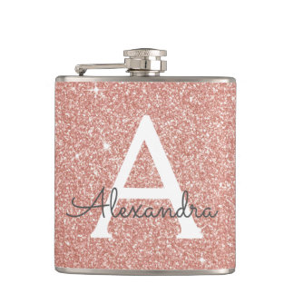 Pink Rose Gold Glitter and Sparkle Monogram Hip Flask