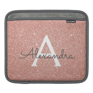 Pink Rose Gold Glitter and Sparkle Monogram iPad Sleeve