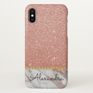 Pink Rose Gold Glitter and Sparkle Monogram Marble iPhone X Case