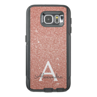 Pink Rose Gold Glitter and Sparkle Monogram OtterBox Samsung Galaxy S6 Case