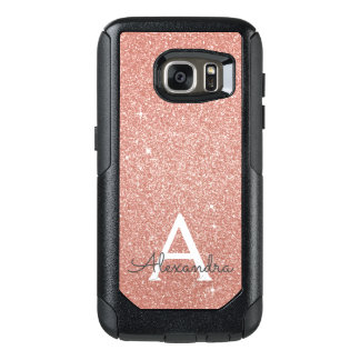 Pink Rose Gold Glitter and Sparkle Monogram OtterBox Samsung Galaxy S7 Case