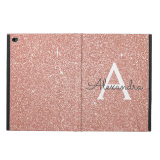 Pink Rose Gold Glitter and Sparkle Monogram Powis iPad Air 2 Case