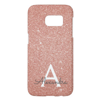Pink Rose Gold Glitter and Sparkle Monogram Samsung Galaxy S7 Case