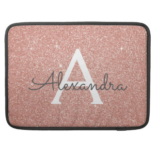 Pink Rose Gold Glitter and Sparkle Monogram Sleeve For MacBooks