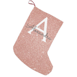 Pink Rose Gold Glitter and Sparkle Monogram Small Christmas Stocking