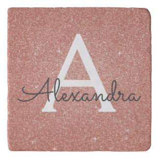 Pink Rose Gold Glitter and Sparkle Monogram Trivet