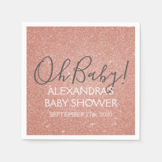Pink Rose Gold Glitter and Sparkle Oh Baby! Paper Napkin