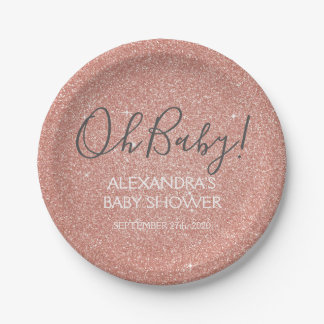 Pink Rose Gold Glitter and Sparkle Oh Baby! Paper Plate
