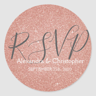 Pink Rose Gold Glitter and Sparkle RSVP Classic Round Sticker