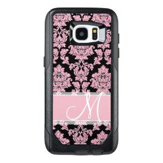 Pink Rose Gold glitter & black damask, Monogram OtterBox Samsung Galaxy S7 Edge Case