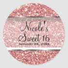 Pink Rose Gold Glitter Glam Sweet 16 Party Favour Classic Round Sticker