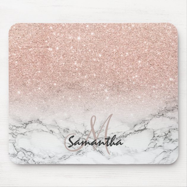 Pink Rose Gold Glitter Ombre White Marble Monogram Mouse Pad Zazzle Ca
