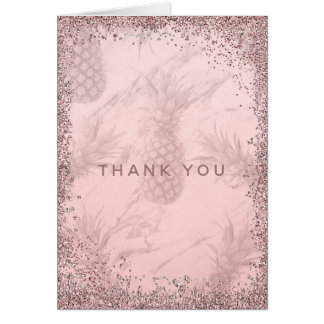 Pink Rose Gold Glitter Pineapple Thank You Card