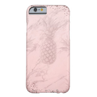 Pink Rose Gold Glitter Pineapple Tropical Chic Barely There iPhone 6 Case
