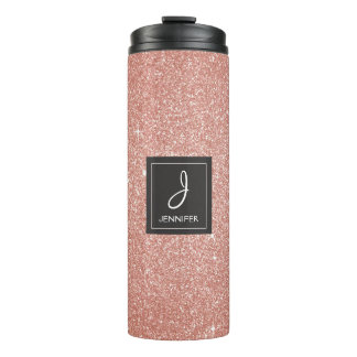 Pink Rose Gold Glitter Sparkle Elegant Monogram Thermal Tumbler