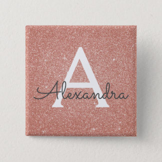 Pink Rose Gold Glitter & Sparkle Monogram 2 Inch Square Button