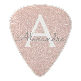 Pink Rose Gold Glitter & Sparkle Monogram Acetal Guitar Pick