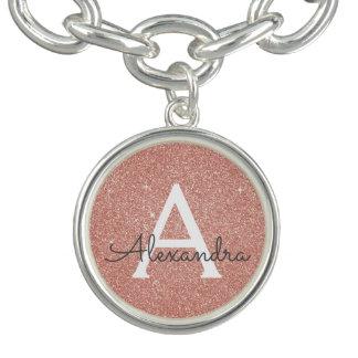 Pink Rose Gold Glitter & Sparkle Monogram Charm Bracelet