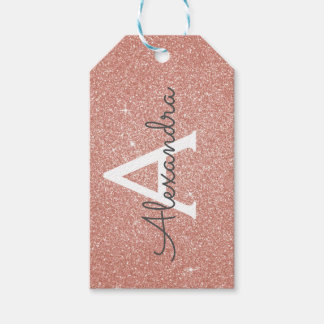 Pink Rose Gold Glitter & Sparkle Monogram Gift Tags