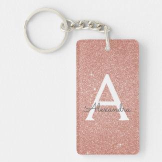 Pink Rose Gold Glitter & Sparkle Monogram Keychain