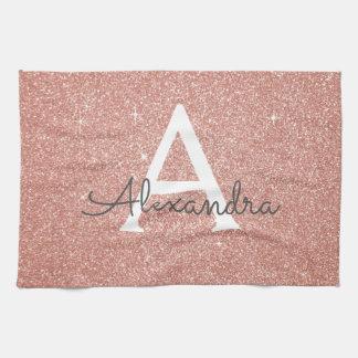 Pink Rose Gold Glitter & Sparkle Monogram Kitchen Towel