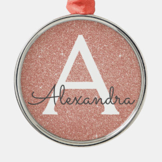 Pink Rose Gold Glitter & Sparkle Monogram Metal Ornament