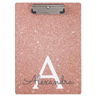 Pink Rose Gold Glitter & Sparkle Monogram School Clipboard