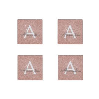 Pink Rose Gold Glitter & Sparkle Monogram Stone Magnets
