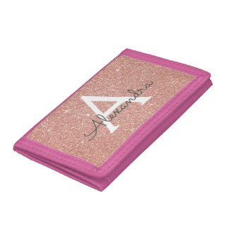 Pink Rose Gold Glitter & Sparkle Monogram Trifold Wallet