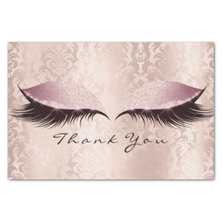 Pink Rose Gold Glitter Thank Bridal Eye Lashes Tissue Paper