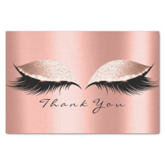 Pink Rose Gold Glitter Thank Coral Eyes Lashes Tissue Paper