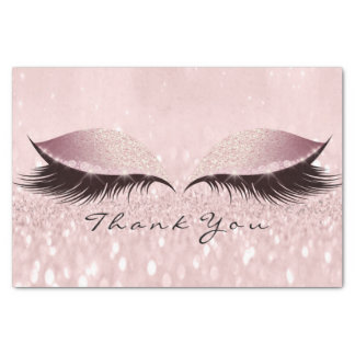 Pink Rose Gold Glitter Thank SPA Eyes Lashes Tissue Paper