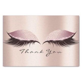 Pink Rose Gold Glitter Thank You Eyes Lashes Tissue Paper