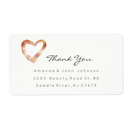 Pink Rose Gold Heart Blush White Custom Thank You