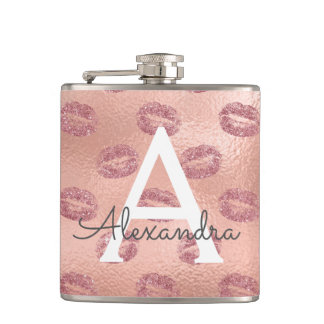 Pink Rose Gold Lipstick Kisses Monogram Birthday Hip Flask