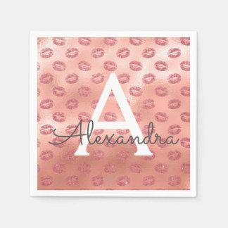 Pink Rose Gold Lipstick Kisses Monogram Birthday Paper Napkins