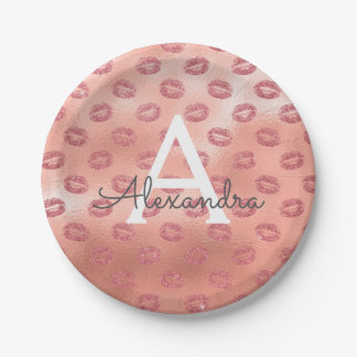 Pink Rose Gold Lipstick Kisses Monogram Birthday Paper Plate