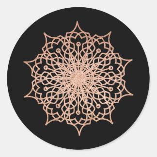 Pink Rose Gold Liz Mandala Black Classic Round Sticker
