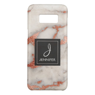 Pink Rose Gold Marble Elegant Monogram Case-Mate Samsung Galaxy S8 Case