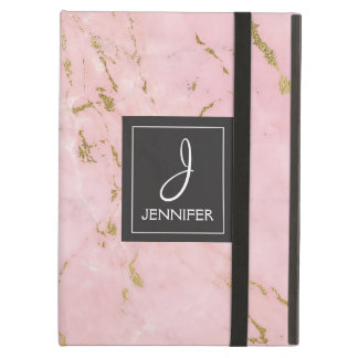 Pink Rose Gold Marble Elegant Monogram Cover For iPad Air