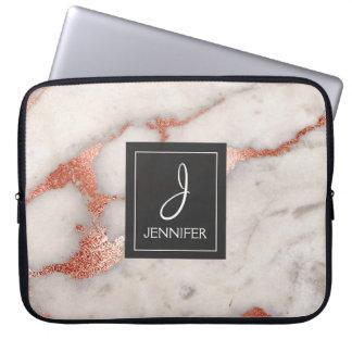 Pink Rose Gold Marble Elegant Monogram Laptop Sleeve