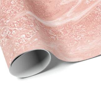 Pink Rose Gold Marble Molten Pastel Peach Wrapping Paper