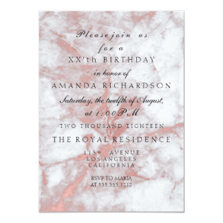 Pink Rose Gold Marble Stone White Birthday Party Card